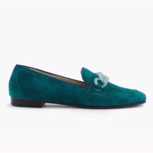 J. Crew Suede Charlie Loafers with Lucite Links